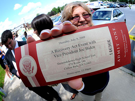 Donna Lynch, Shenendehowa Teachers Association, holds up her ticket to see Vice President Joe Biden at her high school on July 9. Photo by Steve Jacobs.