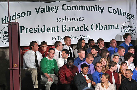 Hudson Valley Community College students await the president's arrival.