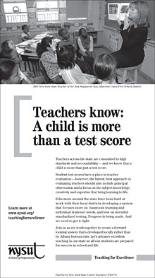NYSUT teacher evaluation ad campaign