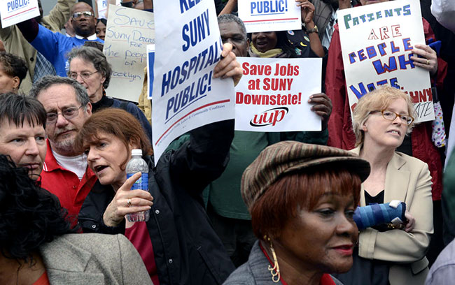 Activists rally for SUNY Downstate Medical.