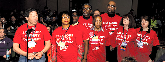 UUP members, led by UUP President Fred Kowal, speak in support of a resolution supporting SUNY Downstate Medical Center. Photo by Michael Campbell.
