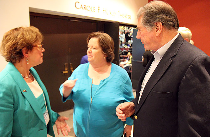 NYSUT Vice President Catalina Fortino (left) chats with Assembly Education Committee Chair Cathy Nolan and Buffalo Teachers Federation President Phil Rumore. Photo by Andrew Watson.