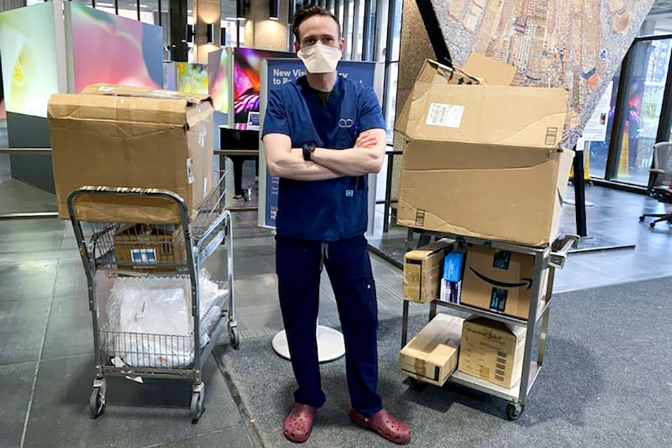 Bellevue Hospital ICU nurse Steven Trust, an adjunct instructor at Kingsborough, delivered much needed donations of personal protective gear. Photo provided.