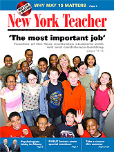 Cover of New York Teacher featuring Teacher of the Year Marguerite Izzo and her students