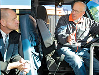 NYSUT Secretary-Treasurer Lee Cutler, left, and Alden bus driver Dennis Smith, a member of the Alden Central School Employees Assocation.