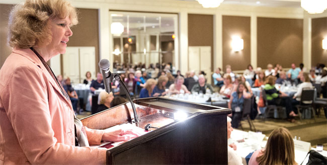 NYSUT Vice President Kathleen Donahue engages School-Related Professionals on a variety of topics, including health care, during their recent conference.