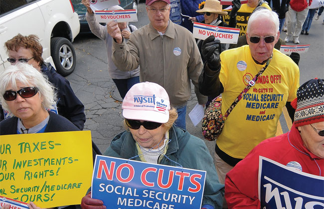 NYSUT retirees  continue to be at the forefront of efforts to send lawmakers the message that  programs such as Social Security and Medicare are essential for a secure  retirement.