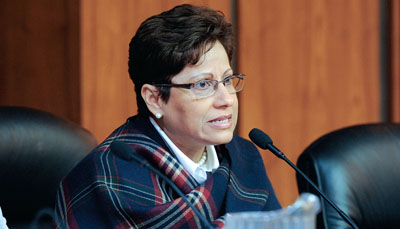 NYSUT Vice President Maria Neira discusses the need for universal pre-K in New York state during a panel discussion hosted by the New York State Association of Black and Puerto Rican Legislators. NYSUT strongly supports universal pre-K and is urging lawmakers to provide adequate state funding for all eligible children.