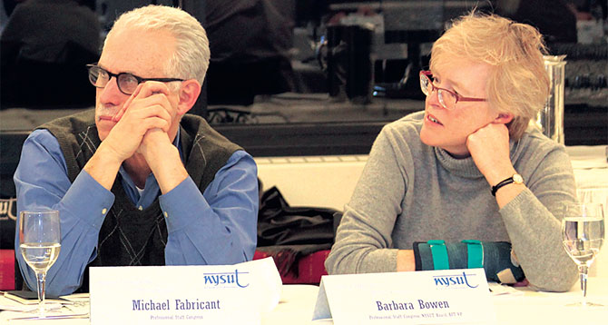 PSC leaders Michael Fabricant and Barbara Bowen at the most recent Higher Education Policy Council meeting.