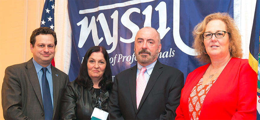 Paul Pecorale, NYSUT vice president; Anne Goldman, UFT vice president for non-DOE members; Ciaran Staunton, co-founder of The Rory Staunton Foundation and Karen E. Magee, NYSUT president.
