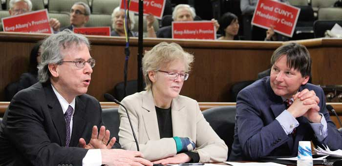 From left: PSC's Vice President Steve London and President Barbara Bowen, and UUP President Fred Kowal testify before a joint legislative panel.