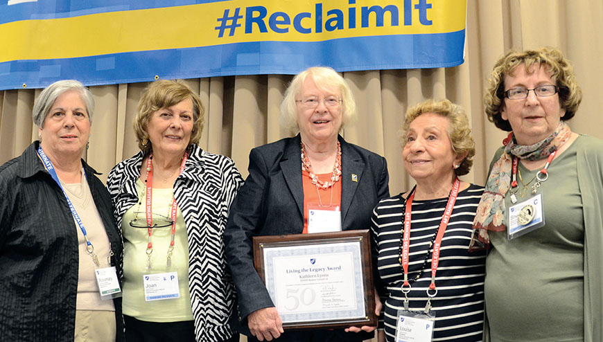 Rosemary Catanzariti, RC 19 co-president; Joan Perrini, ED 52 director; Kathleen Lyons, RC 21; Louise Levine Rosenthal, RC 19 co-president; and Sheila Goldberg, RC 17 president.