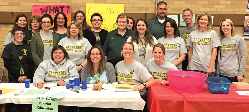 Members of the Alexander United Teachers participate in the local unions first community Health and Wellness Fair.