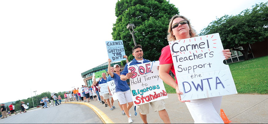 Members of the Carmel TA and Dover's unionized highway department join Dover-Wingdale TA members and Dover parents in supporting embattled librarian and union leader Patrick Stevens.