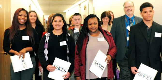 Student activists get ready to tell their stories to lawmakers during BOCES Lobby Day.