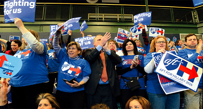AFT President Randi Weingarten, left center, NEA President Lily Eskelsen Garcia, second from right, and NYSUT President Karen E. Magee lead the charge for Hillary.