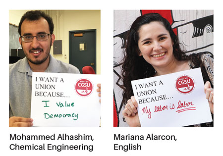Cornell Graduate Students United members Mohammed Alhashim and Mariana Alarcon.