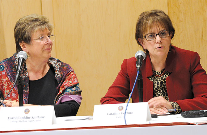 Sleepy Hollow High School Principal Carol Conklin-Spillane, left, and NYSUT VP Catalina Fortino, both members of the governor's Common Core Task Force, preside over a town hall meeting in Lake Placid. Photo by El-Wise Noisette.