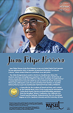 NYSUT celebrates Hispanic Heritage Month, Sept. 15 – Oct. 15, with a free poster honoring Juan Felipe Herrera, the first Latino to serve as United States poet laureate.