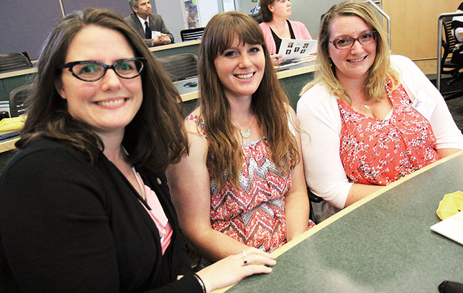 From left, Stillwater TA's Amy Carpenter, Kelli Bailey and Julia Chesney learn more about pursuing National Board Certification at an information session at Adirondack Community College.