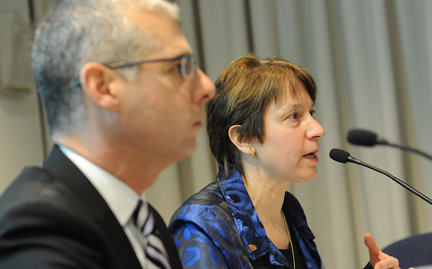 UUP VP for Academics Jamie Dangler, right, discusses teacher certification changes with Regents. She co-chaired a task force with SUNY Central's David Cantaffa, left. Photo by El-Wise Noisette.