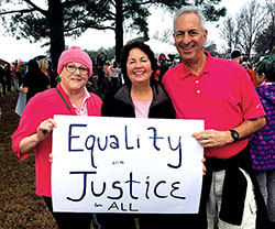 RC 15/16 members Marcia Sklar, Clare Gorman and Jeff Zuckerman at the Women's March in Charleston, S.C.