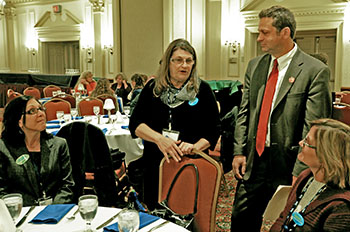From left: Capital Region BOCES FA members Catherine Jakway, Colleen Condolora and Patricia Thornton speak with NYSUT Vice President Paul Pecorale at one of many events honoring School-Related Professionals. New York State SRP Recognition Day is celebrated annually on the third Tuesday in November.