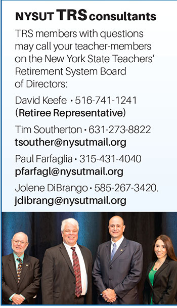 Teacher-members on the New York State Teachers' Retirement System Board of Directors