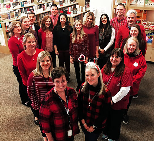 East Williston Teachers' Association members form a heart to show how much they love public schools.