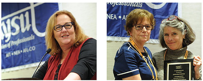 Outgoing NYSUT officers Karen E. Magee, left, and Catalina Fortino, above left, with Roberta Elins of United College Employees of FIT, are honored by delegates.