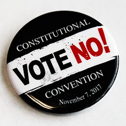 vote no on constitutional convention button