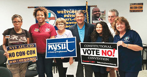 From left, Eve Creary, UFT; Aisha Cook, New Rochelle FUSE; Diane Torstrup, RC 16; state Sen. George Latimer; student Mariah Newbey; Marty Sommer, RC 16; and Florence McCue, at-large ED 51–53 director, have a simple message: On Nov. 7, vote NO on the constitutional convention!