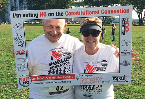 RC 3 President Gail Niparts, and former RC 3 President Dave D'Amato pledge to vote no on Proposition 1, the constitutional convention, on Nov. 7.