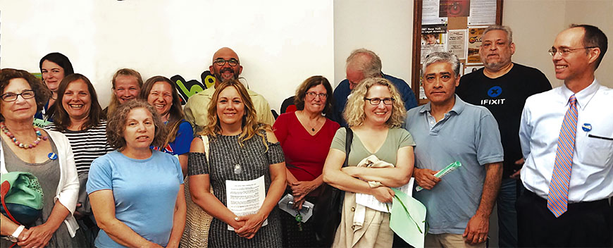 Nyack librarians gather to attend a library board meeting to tell trustees to stay out of their union vote.