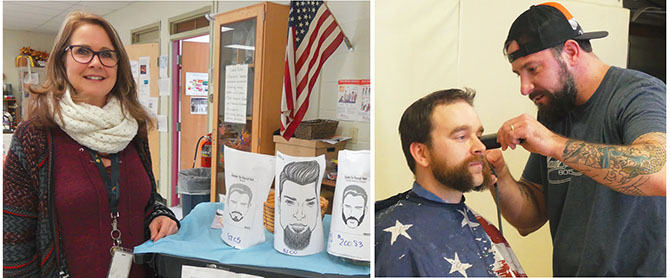 "Jane Amorosi, a Saratoga Adirondack BOCES EA member, recruited staffers to grow beards for a ""Pennies for Puerto Rico"" fundraiser. At right, barber Mike Rabbit gives art teacher John Vandenbergh mutton chops. Photos by Maribeth Macica."