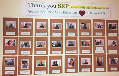 The Peekskill Faculty Association, led by Jose Fernandez, celebrates the district's School-Related Professionals with displays and breakfast pastries on SRP Recognition Day in November. The effort earned the FA first place in NYSUT's SRP Recognition Day contest. Two members can now attend NYSUT's 2018 SRP Conference for the price of one.